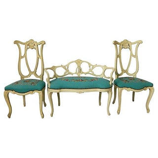 Italian Tapestry Settee & Chairs - Set of 3