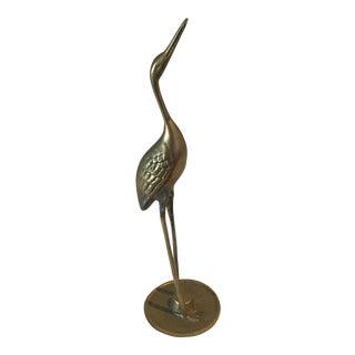 Vintage Brass Crane Statue