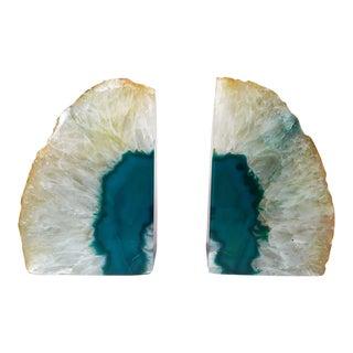 Brazilian Blue Agate Quartz Geode Bookends - A Pair
