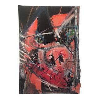 """Vintage Original Robert Cooke""""Beast Head"""" Painting"""