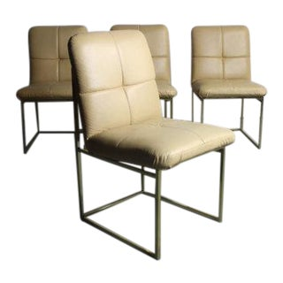 Mid-Century Modern Iconic Floating Brass Dining Chairs - Set of 4