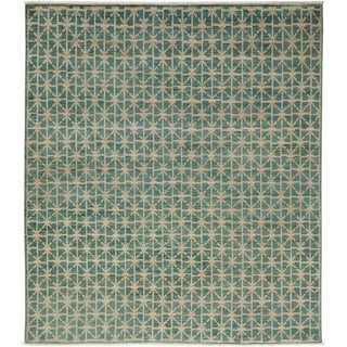 "Ziegler, Hand Knotted Transitional Blue Wool Area Rug - 6' 5"" X 7' 4"""