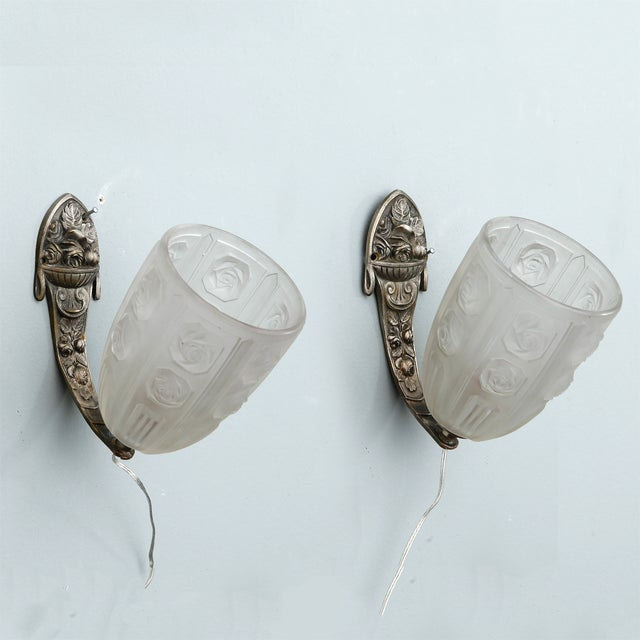 French Art Deco Sconces W Molded Glass Shades-Pair - Image 2 of 8