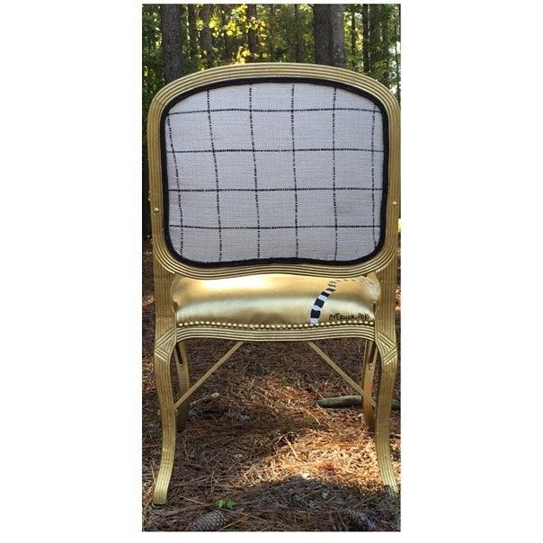 Lennox Golden Abstract Chair Chairish