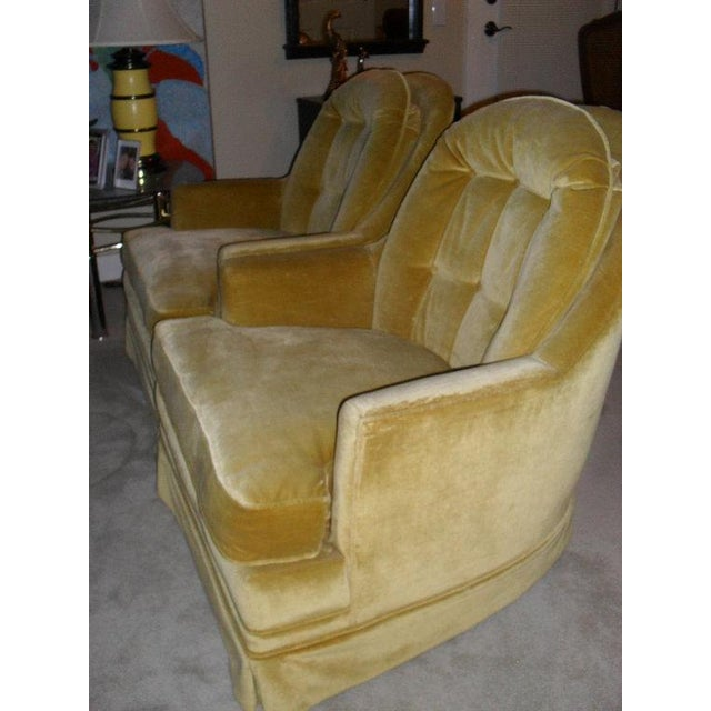 Hollywood Regency Gold Velvet Arm Chairs - Pair - Image 6 of 6