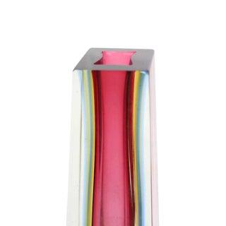 """13"""" Modern Pyramid or Obelisk Shape thick Pink Glass Vase"""