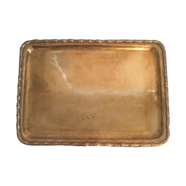 Image of Faux Bamboo Brass Tray