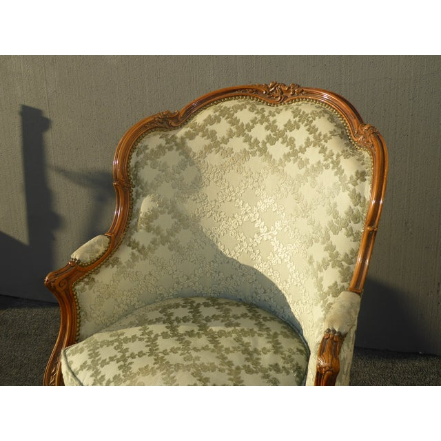 Antique Carved French Louis XV Style Barrel Back Bergere Chair - Image 5 of 11