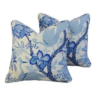Custom Blue & White Chinoiserie Feather/Down Pillows - Pair