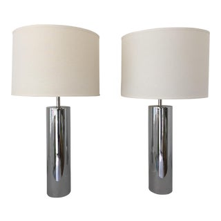 Chrome Table Lamps - A Pair