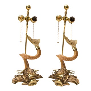 Pair of Chapman, Hollywood-Regency Style Brass and Horn Dolphin Table Lamps