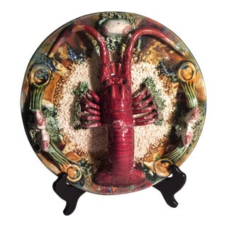 Antique Majolica Lobster Plate