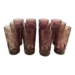 Mid-Century Amethyst Cristal D' Arques Glasses - Set of 12