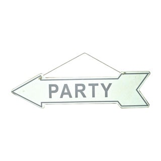 Double-Sided '70s Steel Hanging Party Sign