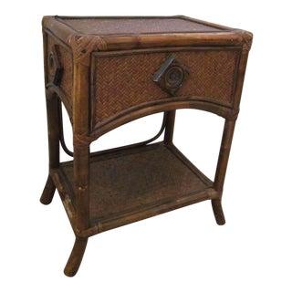 Brown Rattan Side Table