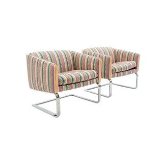 Pair of Milo Baughman Chrome Frame Club Chairs or Barrel Chairs