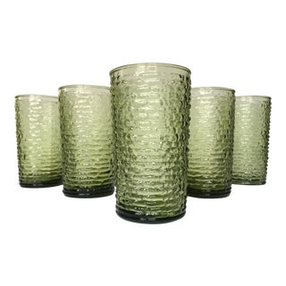 Vintage Green Textured Glass Tumblers- Set of 6