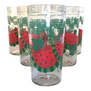 Vintage Anchor Hocking Watermelon Pattern Glassware - Set of 6