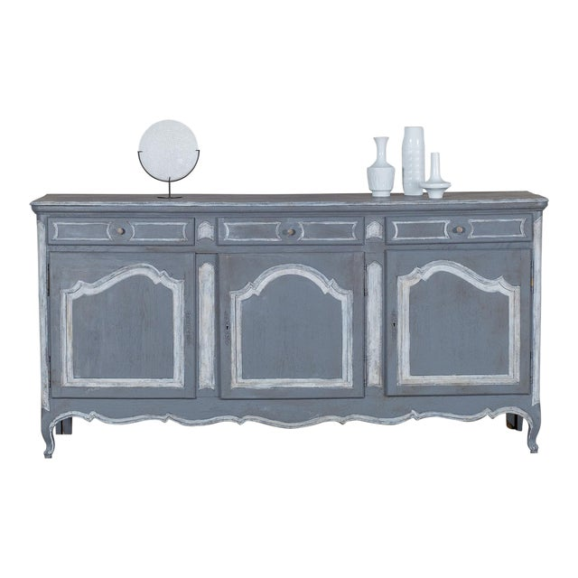 Antique French Louis XV Style Painted Oak Buffet circa 1875 - Image 1 of 9