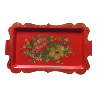 Vintage Red Hand Painted Flowers Tole Tray
