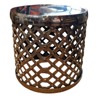 Woven Chrome Drum Stool