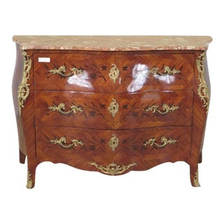French Louis XV Marquetry Inlaid Marble Top Commode