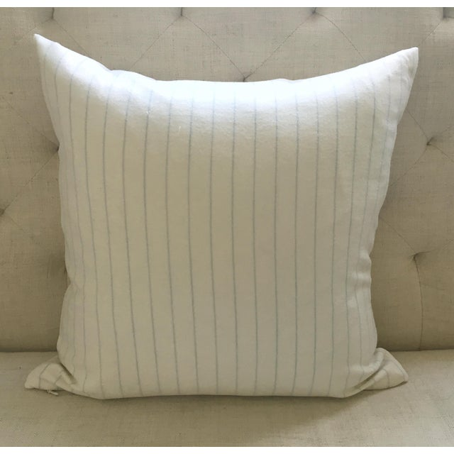 Holland & Sherry Ivory With Pale Blue Pinstripe Wool Pillow Cover - Image 5 of 8