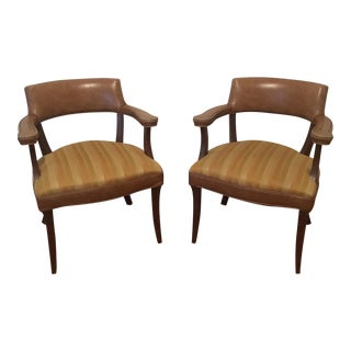 Vinyl-Backed Upholstered Barrel Chairs - A Pair
