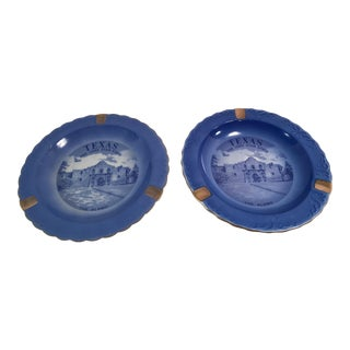 Vintage Texas Alamo Souvenir Ashtrays - A Pair