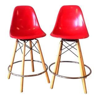Modernica Red Fiberglass Bar Stools - A Pair