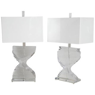 Spiral Lucite Lamps - A Pair