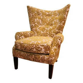 Wing Chair in Gold Cut Velvet by Lee