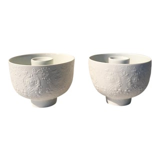 Bjorn Wiinblad White Porcelain Candle Holders - A Pair