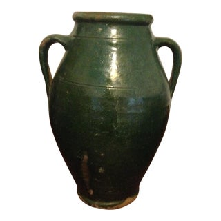 Vintage Turkish Green Pottery Jar
