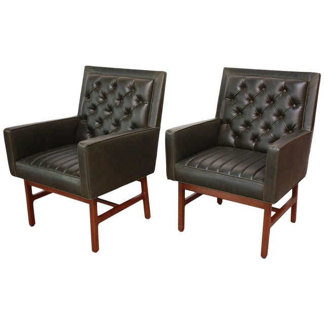 Image of Pair of Milo Baughman for Thayer Coggin Walnut Armchairs