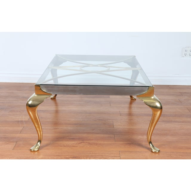 Image of Brass Coffee Table With Glass Top