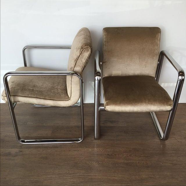 Vintage Acardia Chrome & Velvet Chairs - A Pair - Image 3 of 7
