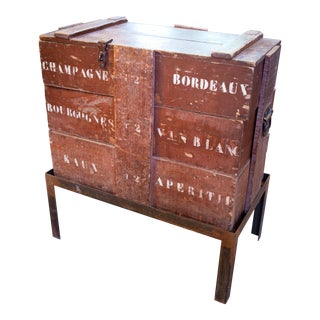 Antique Champagne/ Wine Crate Table with Hand Forged Iron Base