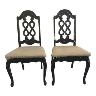 Shabby Chick Black Dining Room Chairs - A Pair