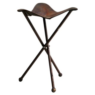 French Modern Neoclassical Wrought Iron and Leather Folding Stool