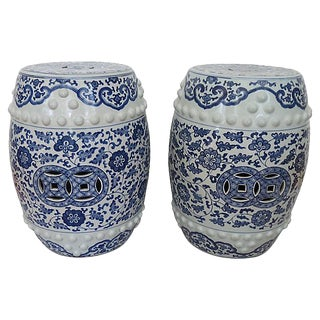 Antique Chinese Pierced Porcelain Garden Stools - A Pair