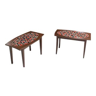 Pair of Walnut and Tile Mosaic Side or End Tables
