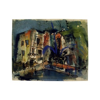 Mid-Century Modern Cityscape Watercolor Painting
