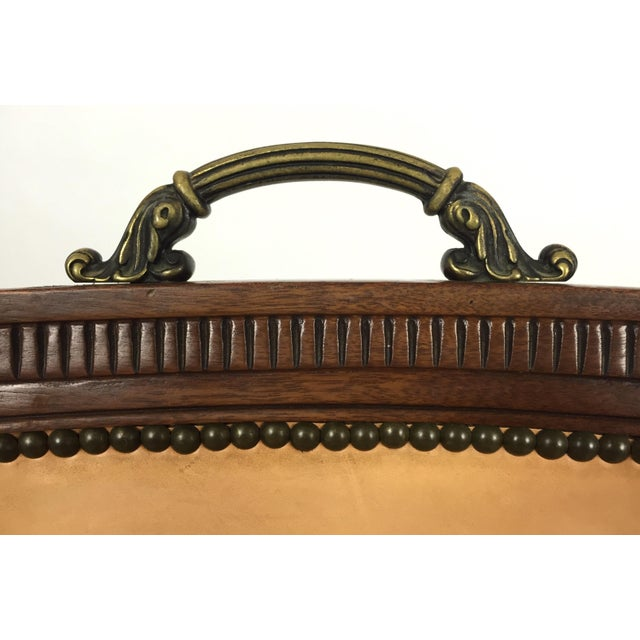 Regency Style Brass Handle Leather Chair - Image 7 of 8