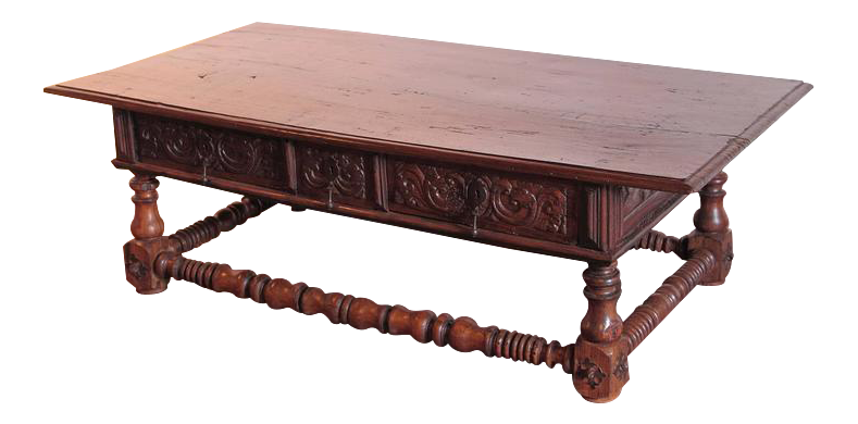 Large 18th Century Spanish Carved Chestnut Coffee Table Stretcher With  Drawers