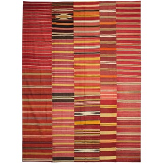"""Antique Hand Knotted Patchwork Kilim - 13'0"""" X 9'9"""""""