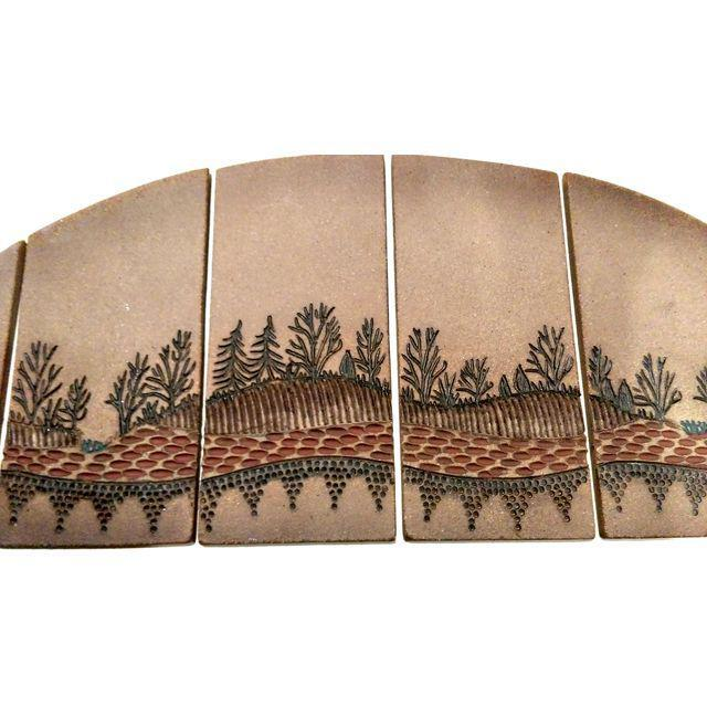 Image of Mid-Century Signed Terra Cotta Tile Wall Art