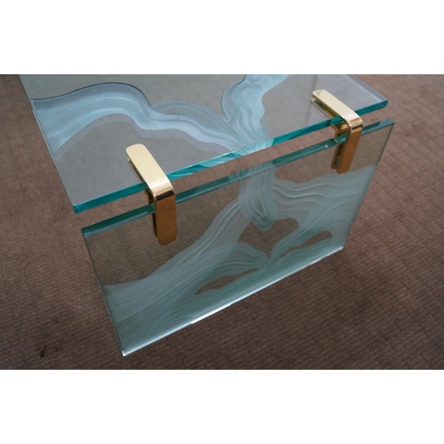 Custom Etched Glass Coffee Table - Image 4 of 10