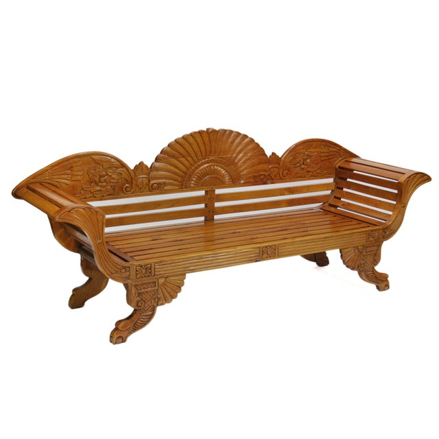 Colonial Java Carved Bench - Image 3 of 7