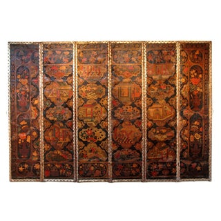 Large English Chinoiserie Six Panel Painted Leather Screen
